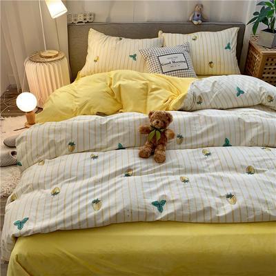 2019新款-棉绒四件套实拍 床单款三件套1.2m(4英尺)床 草莓派黄