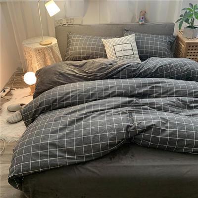 2019新款-棉绒四件套实拍 床单款三件套1.2m(4英尺)床 黑旋风