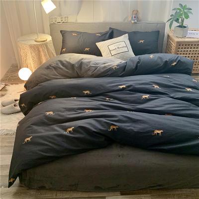 2019新款-棉绒四件套实拍 床单款三件套1.2m(4英尺)床 金钱豹