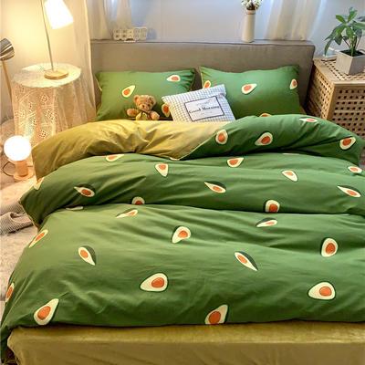 2019新款-棉绒四件套实拍 床单款三件套1.2m(4英尺)床 牛油果