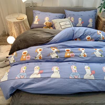 2019新款-棉绒四件套实拍 床单款三件套1.2m(4英尺)床 顺利鸭