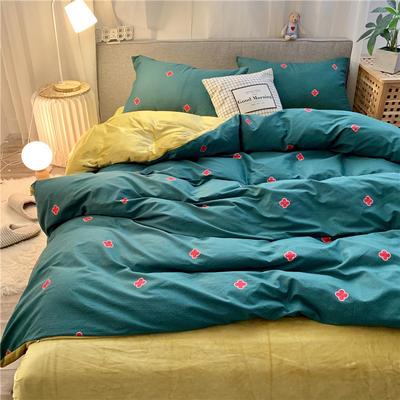 2019新款-棉绒四件套实拍 床单款三件套1.2m(4英尺)床 四叶草