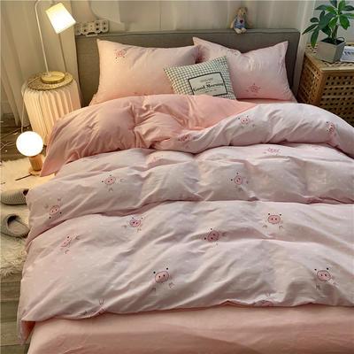 2019新款-棉绒四件套实拍 床单款三件套1.2m(4英尺)床 小小猪