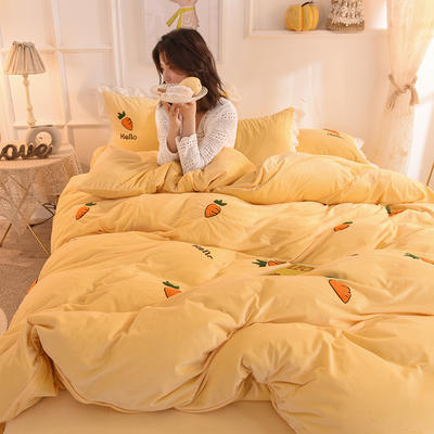 2019新款-宝宝绒毛巾绣四件套 床单款三件套1.2m(4英尺)床 哈罗卜卜-黄