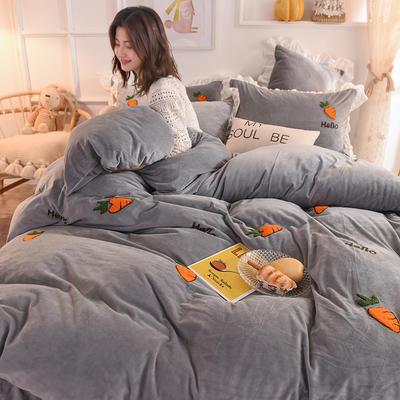 2019新款-宝宝绒毛巾绣四件套 床单款三件套1.2m(4英尺)床 哈罗卜卜-灰