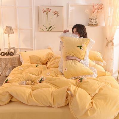 2019新款-宝宝绒毛巾绣四件套 床单款四件套1.8m(6英尺)床 花团锦簇-黄