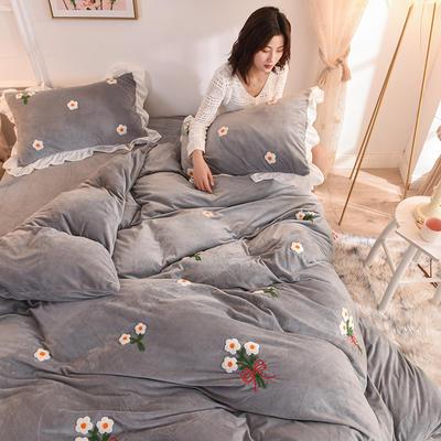 2019新款-宝宝绒毛巾绣四件套 床单款四件套1.8m(6英尺)床 花团锦簇-灰
