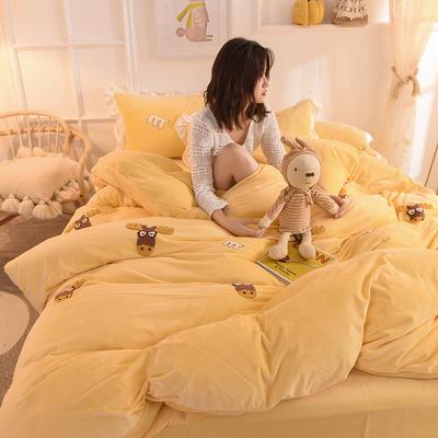 2019新款-宝宝绒毛巾绣四件套 床单款四件套1.8m(6英尺)床 圣诞鹿-黄