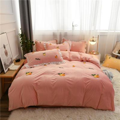 2019新款-宝宝绒毛巾绣四件套实拍图 床单款四件套1.8m(6英尺)床 小枇杷-粉玉