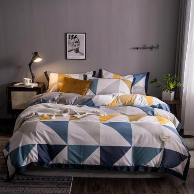 2020新款-北欧英文织带拼接工艺款四件套 床单款三件套1.2m(4英尺)床 艾加罗