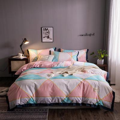 2020新款-北欧英文织带拼接工艺款四件套 床单款三件套1.2m(4英尺)床 艾薇尔