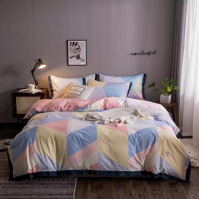 2020新款-北欧英文织带拼接工艺款四件套 床单款三件套1.2m(4英尺)床 斑彩