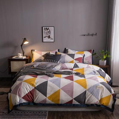 2020新款-北欧英文织带拼接工艺款四件套 床单款三件套1.2m(4英尺)床 彩格密语