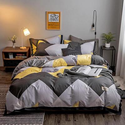 2020新款-北欧英文织带拼接工艺款四件套 床单款三件套1.2m(4英尺)床 简