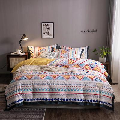 2020新款-北欧英文织带拼接工艺款四件套 床单款三件套1.2m(4英尺)床 玛格丽