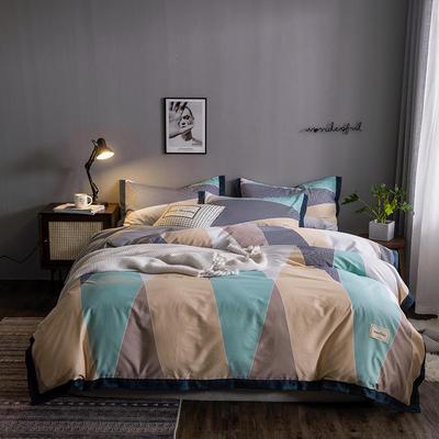 2020新款-北欧英文织带拼接工艺款四件套 床单款三件套1.2m(4英尺)床 梦想家-咖