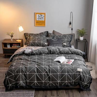 2020新款-北欧英文织带拼接工艺款四件套 床单款三件套1.2m(4英尺)床 绅士