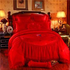 蕾丝公主提花婚庆多件套    床单款 标准 爱情永恒(红)