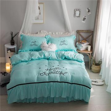 斜纹 加厚 彩棉 水洗棉 绣花 床裙款四件套 1.5米床裙款 玲珑花语-天蓝