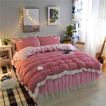 2018水晶绒法莱绒保暖绒床裙款四件套 小号1.2m(4英尺)床) 绒格格 -嫣红