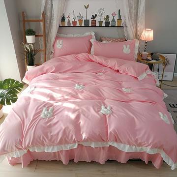 四件套 韩版公主立体绣花床裙四件套 1.5米床 美美兔--优雅玉