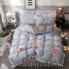 2018新款A水洗棉B水晶绒保暖绒系列四件套 1.5m(5英尺)床 幸福树