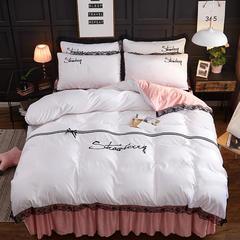 2018新款加厚 斜纹棉 磨毛马卡龙 蕾丝 床裙款四件套 1.2m(4英尺)床 马尔代夫-- 白玉