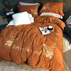 棉麻磨毛绣花四件套 标准(1.5m-1.8m床) 达西庄园
