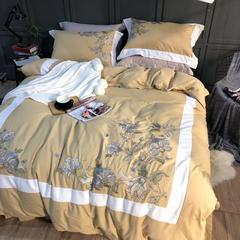 棉麻磨毛绣花四件套 标准(1.5m-1.8m床) 水木清华