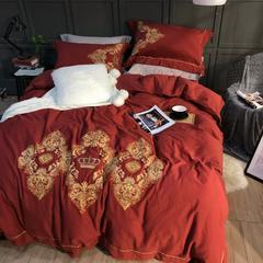 棉麻磨毛绣花四件套 标准(1.5m-1.8m床) 至尊华贵