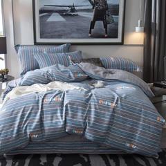 2018新款全棉磨毛四件套 1.5m(5英尺)床 慢时光-蓝灰