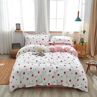 2019新款臻棉绒牛奶保暖绒四件套 1.8m(6英尺)床 草莓 (白)