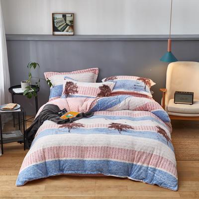 2019新款臻棉绒牛奶保暖绒四件套 1.8m(6英尺)床 美好生活