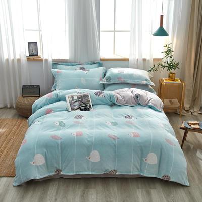 2019新款臻棉绒牛奶保暖绒四件套 1.8m(6英尺)床 童年 (蓝)