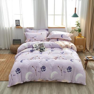 2019新款臻棉绒牛奶保暖绒四件套 1.8m(6英尺)床 星空 (紫)