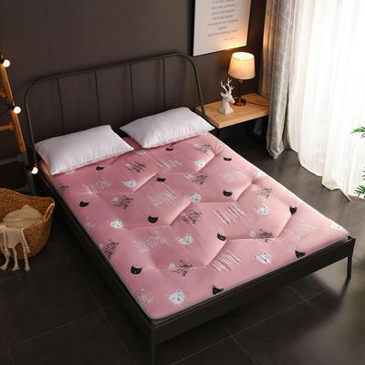 2018新款-w印花加厚床垫 90*200cm 猫咪宝贝—粉