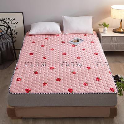 2020新款四季防滑印花床護墊 0.9*2.0米 愛心草莓