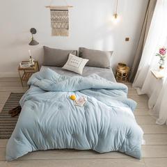 纯色刺绣针织棉 冬被 150*200(6斤) 雾蓝