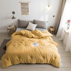 纯色刺绣针织棉 春秋被 150*200(4斤) 麦黄
