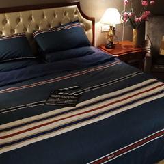 无印良品四件套 1.5m(5英尺)床 蓝条