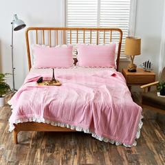韩版绗缝夏凉被三件套 200X230cm 粉色