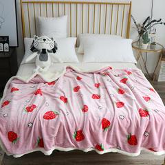 2019春秋新款双层羊羔绒童毯 1.5X2.0 草莓派对