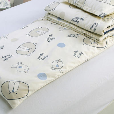 儿童产品 幼儿园儿童三件套 被套+垫套+枕套 条纹熊宝