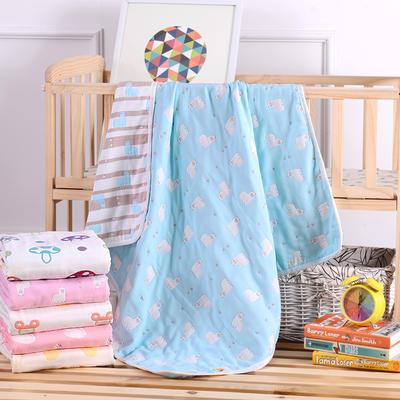 婴儿用品 6层纱布110*110cm 小白熊蓝