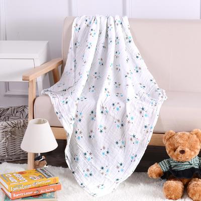 婴儿用品 2层纱布120*120cm 炫彩五角星-蓝