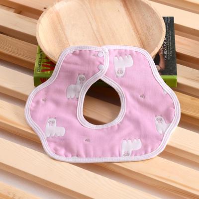 婴儿用品 花瓣围嘴 羊驼-粉