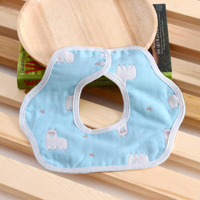 婴儿用品 花瓣围嘴 羊驼-蓝