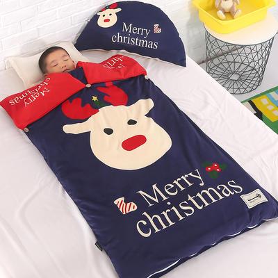 北欧暖绒睡袋款(棉花厚款) 圣诞快乐折叠尺寸80*135