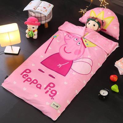 北欧暖绒睡袋款(棉花厚款) 佩奇公主折叠尺寸80*135