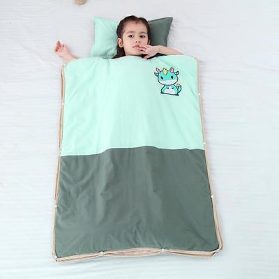 2019新款-水洗棉防踢睡袋(睡袋外套含枕套)模特图 薄荷小龙40*60